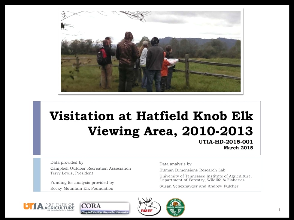 Visitation Analysis by University of Tennessee  Tennessee Elk